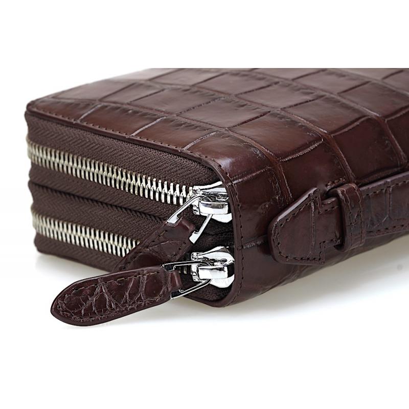Мужской клатч из крокодиловой кожи коричневый