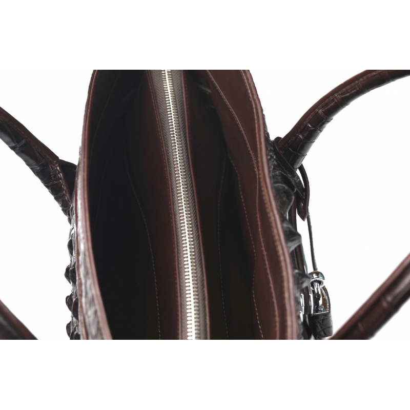 Женская коричневая сумка из кожи крокодила большая