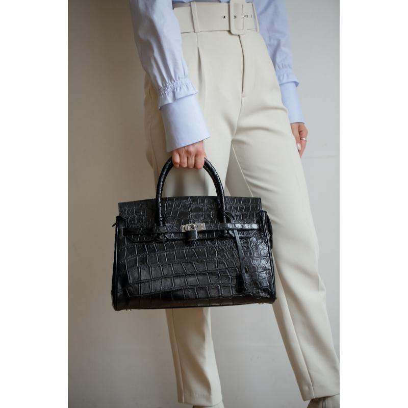Женская черная сумка из кожи живота крокодила Биркин