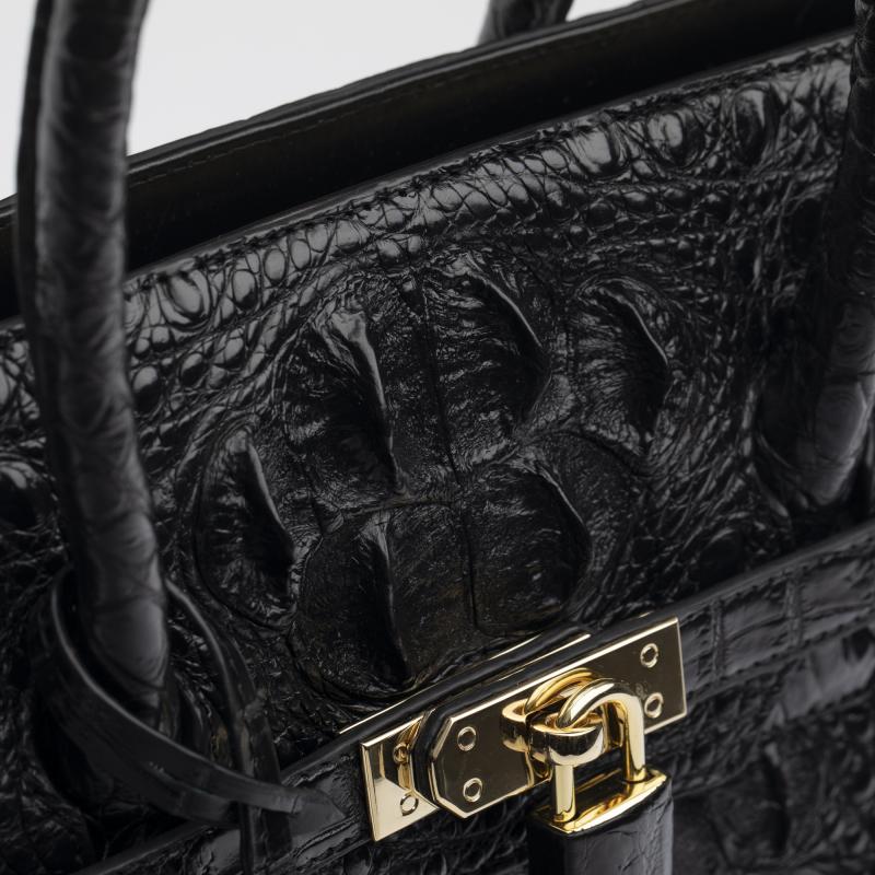 Женская черная сумка из крокодиловой кожи Birkin