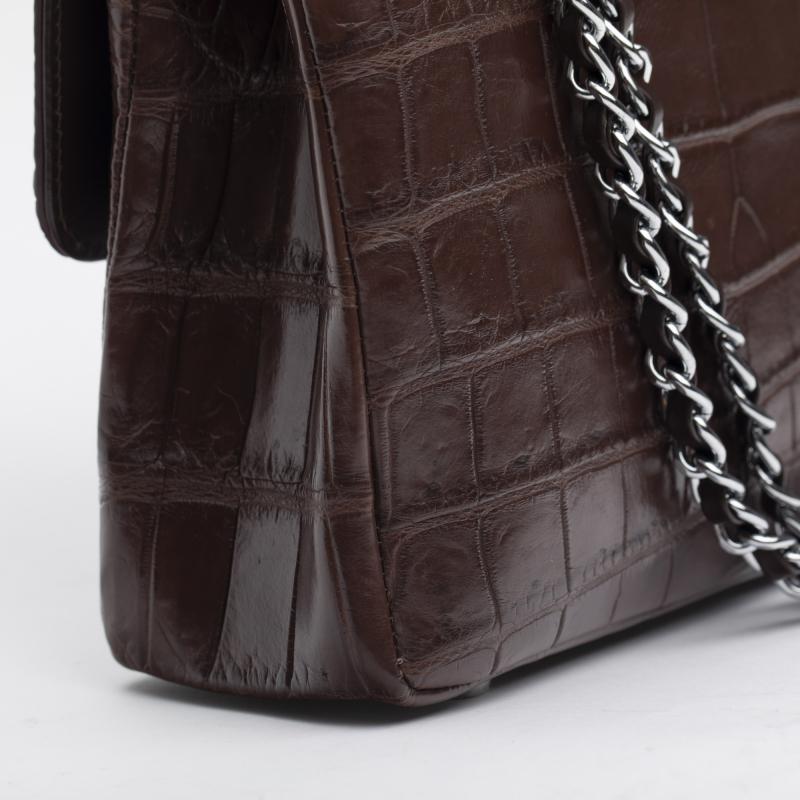 Женская сумка шанелька из кожи живота крокодила