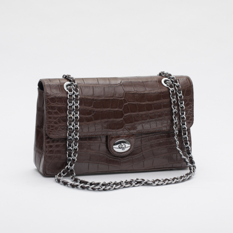 Женская сумка из кожи живота крокодила на цепочке