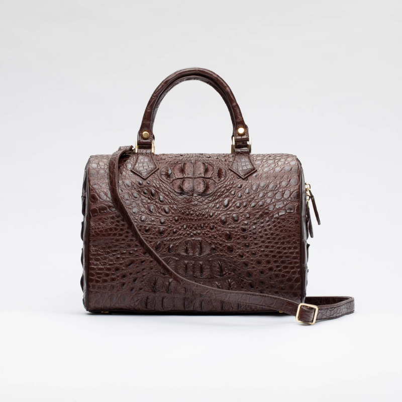 Женская сумка саквояж из кожи крокодила