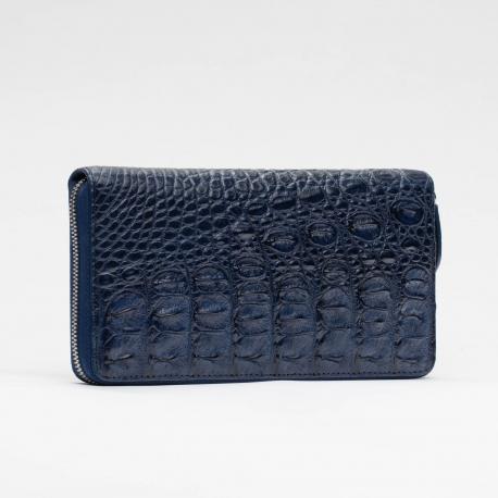 Синий кошелек на молнии из кожи крокодила
