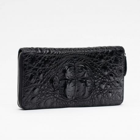 Кошелек черный на молнии из крокодиловой кожи