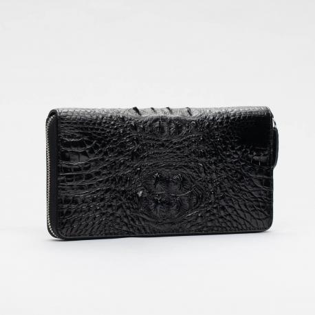 Кошелек черный на молнии из кожи крокодила