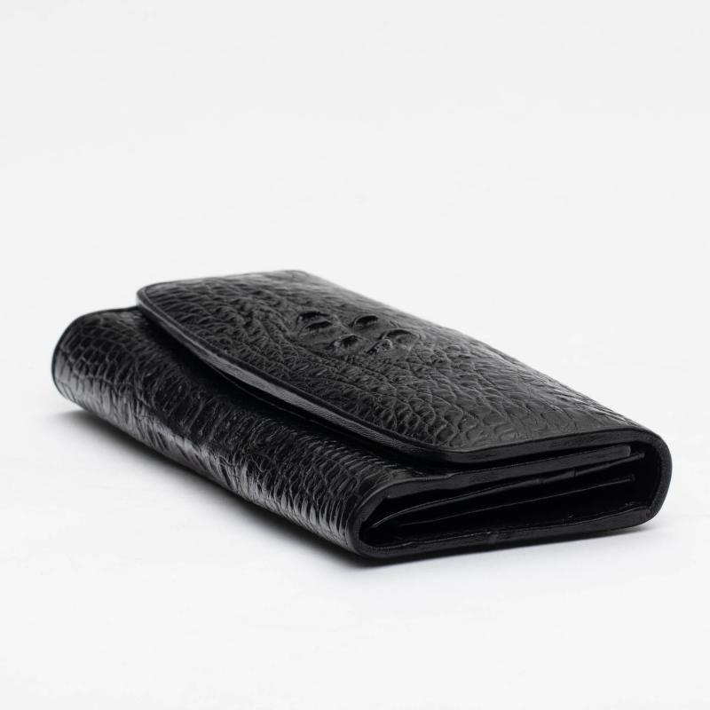 Черный женский кошелек в три сложения из крокодила