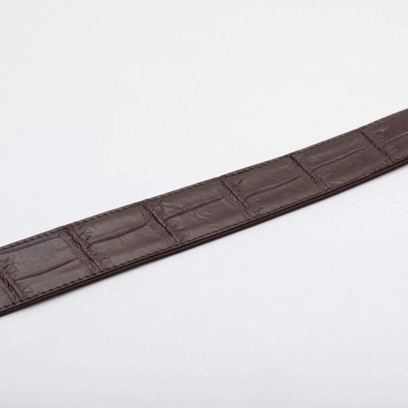 Ремень из кожи живота крокодила ручной работы