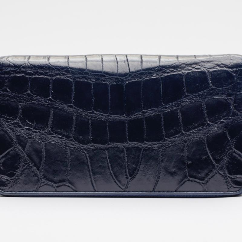 Кошелек на молнии из кожи крокодила темно-синий