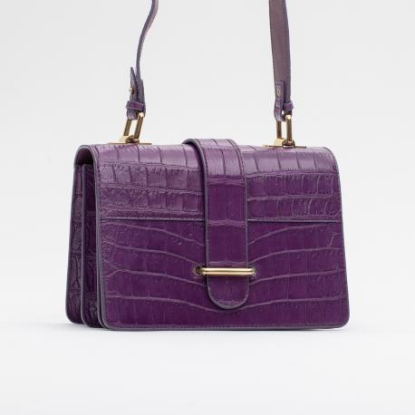 Фиолетовая сумка из кожи крокодила