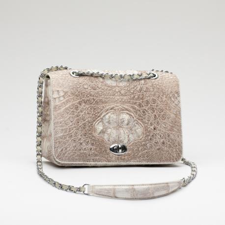 Женская сумка из кожи крокодила на цепочке