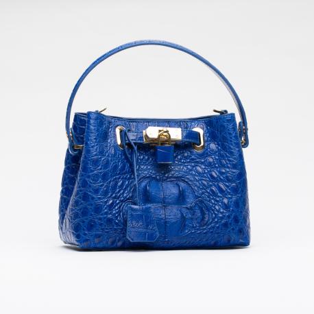 Сумка из кожи крокодила с замком в синем цвете