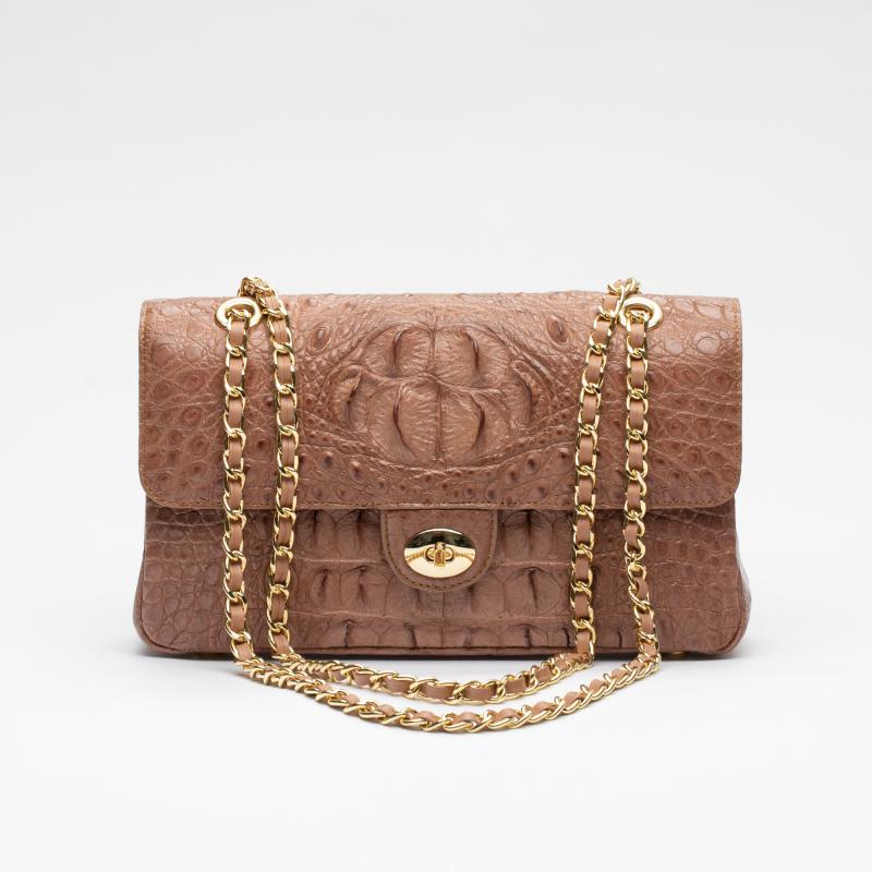 Женская сумка на цепочке из кожи крокодила