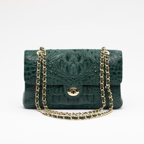 Женская сумочка на цепочке из кожи крокодила
