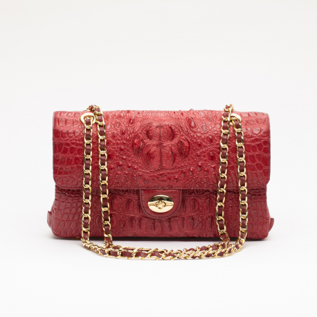 Женская сумка из крокодиловой кожи на цепочке